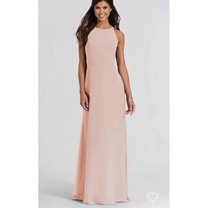 Hayley Paige 5714 Open Back Blush Bridesmaid Dress